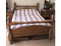 King Size Solid Pine Antique Finish Bed