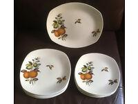 12 Retro Midwinter Stylecraft Orange and Lemons Square Plates, Fashion Shape.