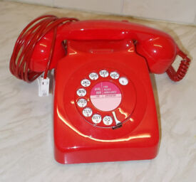 Fully working and converted rare red 1970's BT/ GPO 746 telephone