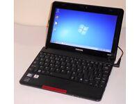 Toshiba NB510 laptop. Windows 7, 2GB RAM, 500GB hard drive. Wifi. USB. HDMI. Small cheap laptop
