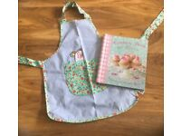 Girls M & S fabric baking apron and cookery book suit age 5-8 approx