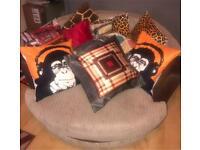Brown Beige Cord Swivel Cuddle Chair