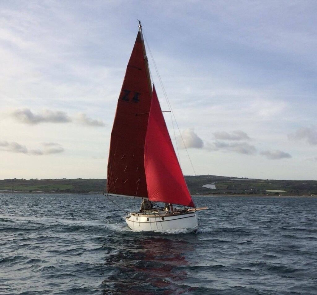 21' Zyklon wooden boat afloat in Falmouth. All timber in good condition. New mast.