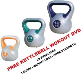 Kettlebell Set 8-10-12kg Fitness Weights Vinyl Kettlebell Set Free DVD: NEW