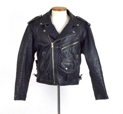 Vtg Black Full Grain Leather Biker Jacket Punk Motorcycle Removable Liner Men 44