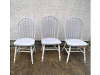 Pair of 2 pine chairs painted grey + 3rd also available stick back