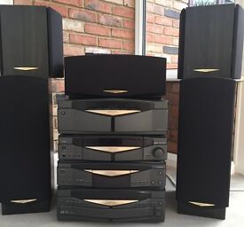 Kenwood Series 21 HiFi system – 5 Speakers, Multi CD, Remote - (Not Fully working in 5.1 Mode)