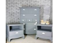 Gorgeous soft grey bedroom set, Stag Minstrel tallboy chest & 2 bedside cabinets with drawers