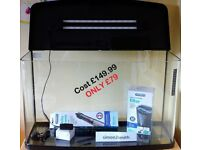 87 Litre, 75cm Bow Front Fish tank - Complete LED Aquarium KIT • Heater • Filter