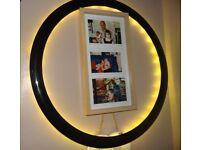 Ikea KALLT backlit circle wall light/frame, black, warm bulbs, 58cm dia outer.