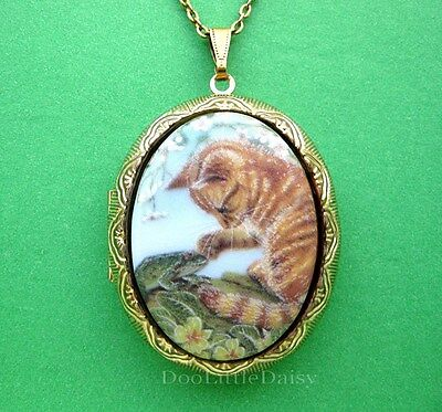 Porcelain YELLOW Orange TABBY CAT Kitten & FROG CAMEO Locket Necklace for Gift