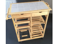 PINE TILE TOP KITCHEN TROLLEY