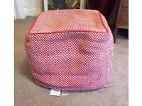 HABITAT Red patterned pouffe/footstool