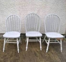Pair of 2 pine chairs grey colour 3rd matching stick back available