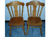 2 SOLID PINE CHAIRS - STURDY HEAVY DUTY PAIR - DINING, KITCHEN, CONSERVATORY