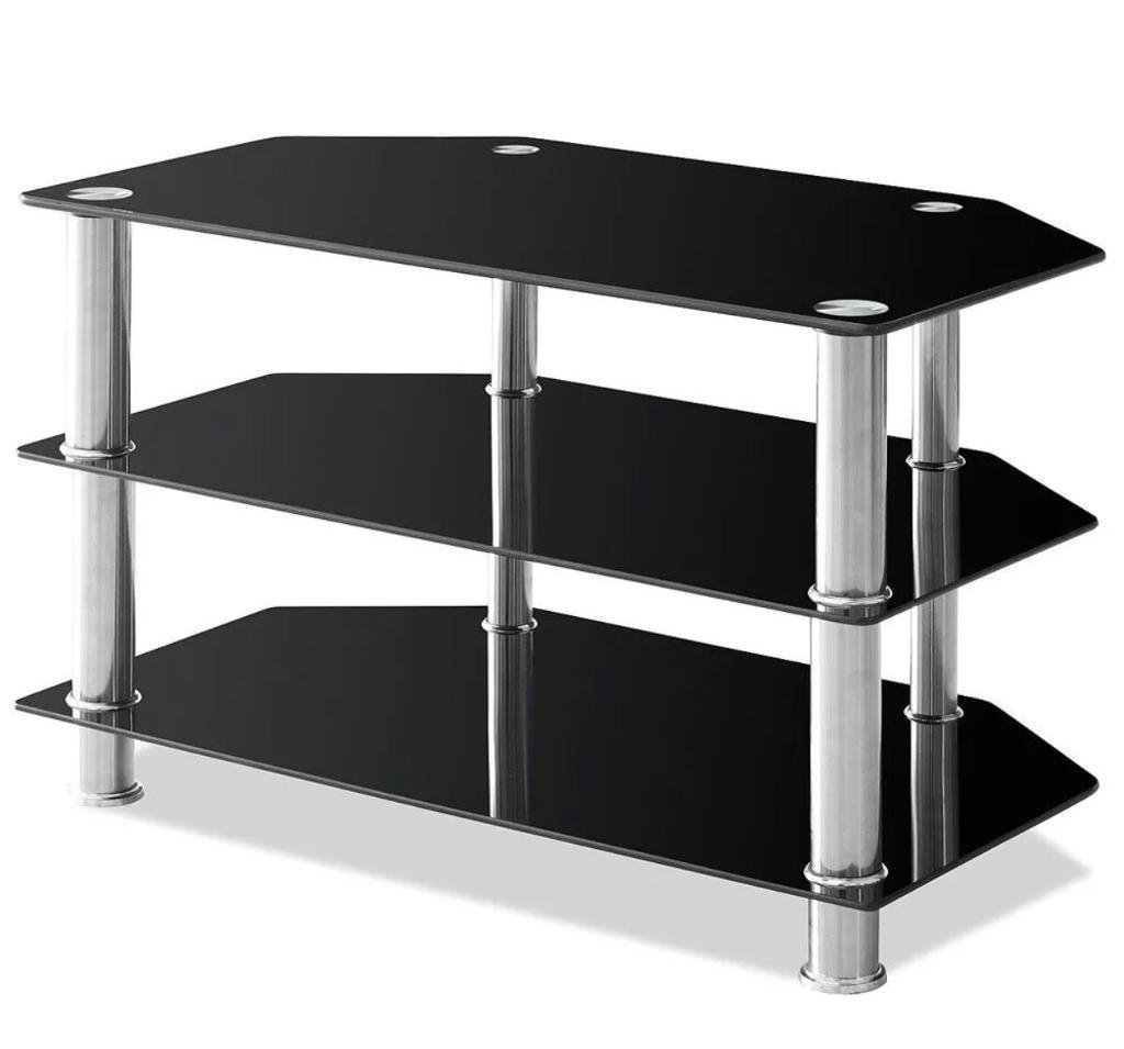 Glass TV Stand in Black - Excellent Condition