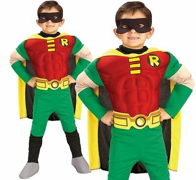 Child ROBIN DELUXE MUSCLE CHEST Boys Fancy Dress Costume Kids DC Comics Outfit