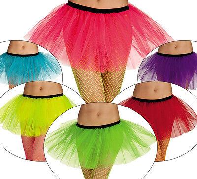 Neonfarbene Kostüme (PINK ROSA NEON Tütü Tutu Ballettrock neonfarben Karneval 80s Fasching Tüllrock)