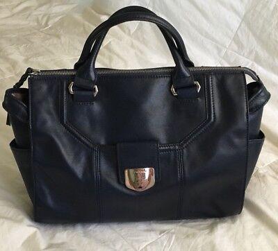 B. MAKOWSKY Navy Blue Leather Large Satchel Purse Bag-VERY NICE