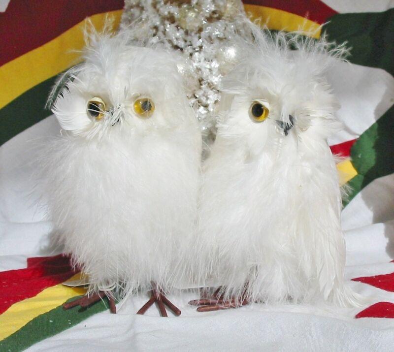 Set of 2 Little White Fluffy Owl Christmas Ornaments New