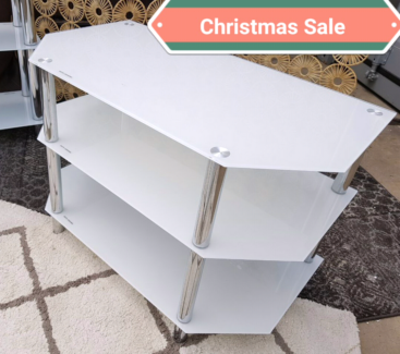 NEW $300 White Glass  Tv entertainment unit stand - Wollongong