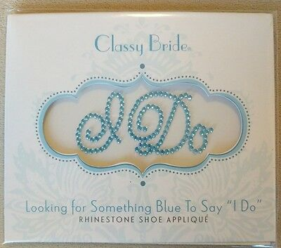 'I Do' Wedding Bride Shoes Sticker Crystal Decor 'Something Blue' NIB