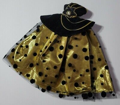 BARBIE DOLL CLOTHES BLACK & GOLD POLKADOT TULLE METALLIC STRAPLESS GOWN DRESS