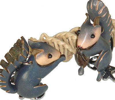 A Pair Set of Genuine Leather Key-chain/bag-charm,Cute Squir
