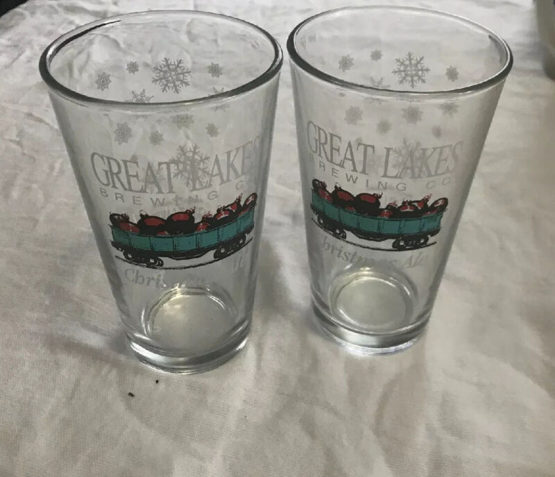 2 Great Lakes Brewing Company Christmas Ale Pint Glasses Ornaments/Snowflakes