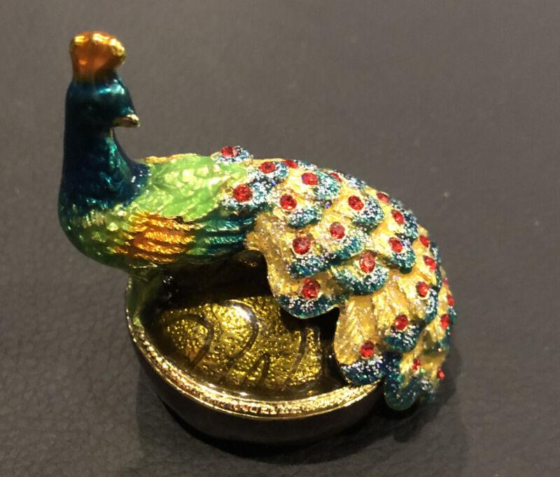 Vintage Peacock Trinket Box Enameled Bejeweled Green Jewelry Pill Box Rhinestone