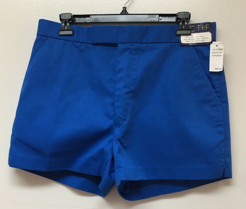 "Vintage 80's/ 90's Men's Size 34 Retro Flat Front Shorts Bright Blue 3"" Inseam"