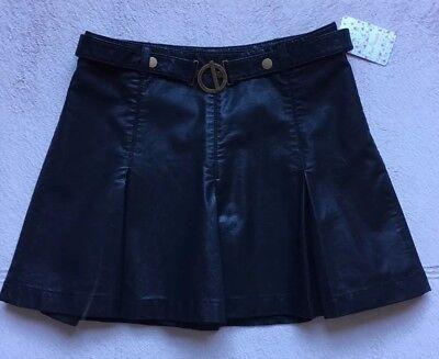 Free people But I Love It  Faux Leather Pleated Mini Skirt, Size 6, Black, Belt