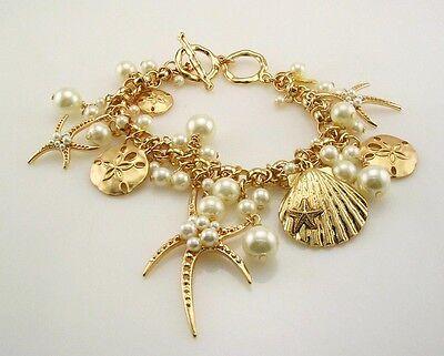 Joan Rivers  AdjustableFaux Pearl  Star Fish  Toggle Bracelet  gold 7 1/2