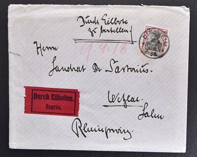 GERMANY 1918 Germania on interesting Eilboten/Express Cover DINSHEIM to Wetzlar