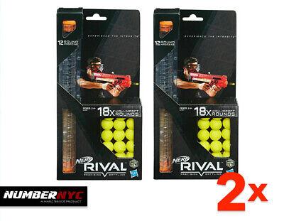 2x Nerf Rival 18 Round Refill Packs 2 - 12 Round Magazine Clip Ammo Yellow Balls