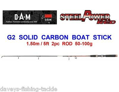 DAM STEELPOWER RED G2 SOLID CARBON 2pc BOAT STICK ROD FOR KAYAK CANOE FISHING