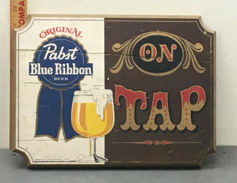 "Vintage Pabst Blue Ribbon Wooden Sign "" On Tap"" Some Imperfections."