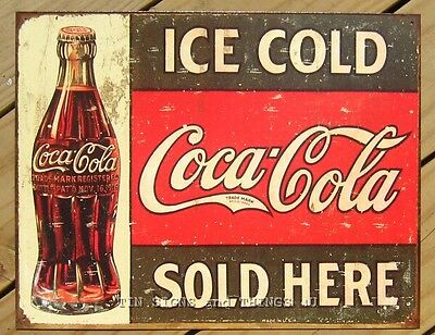 Coke Coca Cola Sold Here TIN SIGN bottle 1916 drink ad vtg metal wall decor 1299