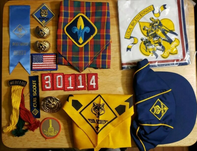 Lot Of Vintage Cub Scouts Patches, Pins, Neckerchief And Hat