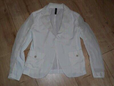 Beige Haken (Creme Beige/Weiß leichte Jacke, Blazer mit 1 Haken Marc Cain Gr N 4 40 wie neu)