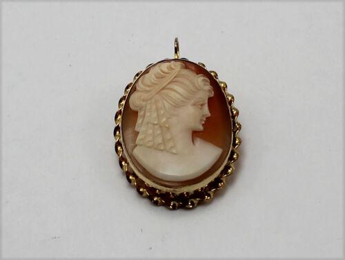 Vintage 1/20 12K Gold Filled GF Signed CC Oval Filigree Cameo Brooch Pendant