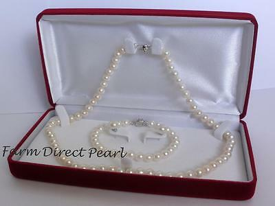 30 Inch Set Lustrous 7mm White Pearl Strand Necklace Bracelet Earring - Strand 7mm White Pearl Bracelet