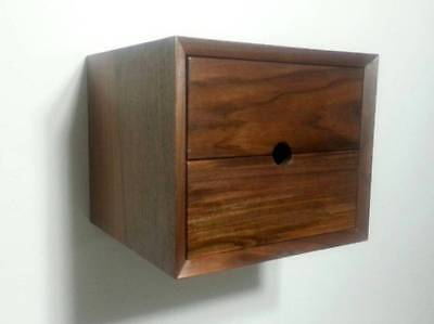 Custom 2 Drawer Floating Nightstand Shelf End Table Walnut Mid Century Style