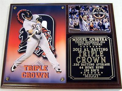 Miguel Cabrera 24 Detroit Tigers 2012 Batting Triple Crown Legend Photo Plaque