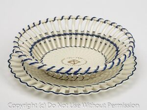 Wedgwood Creamware Strapwork Basket & Stand Georgian Antique  c.1780