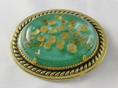 Vintage Special Effects Green & Gold Brooch Pin
