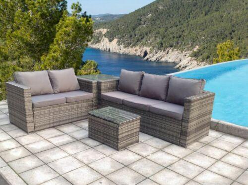 Garden Furniture - RATTAN CORNER  WICKER GARDEN OUTDOOR TABLE AND CHAIRS FURNITURE PATIO SET GREY