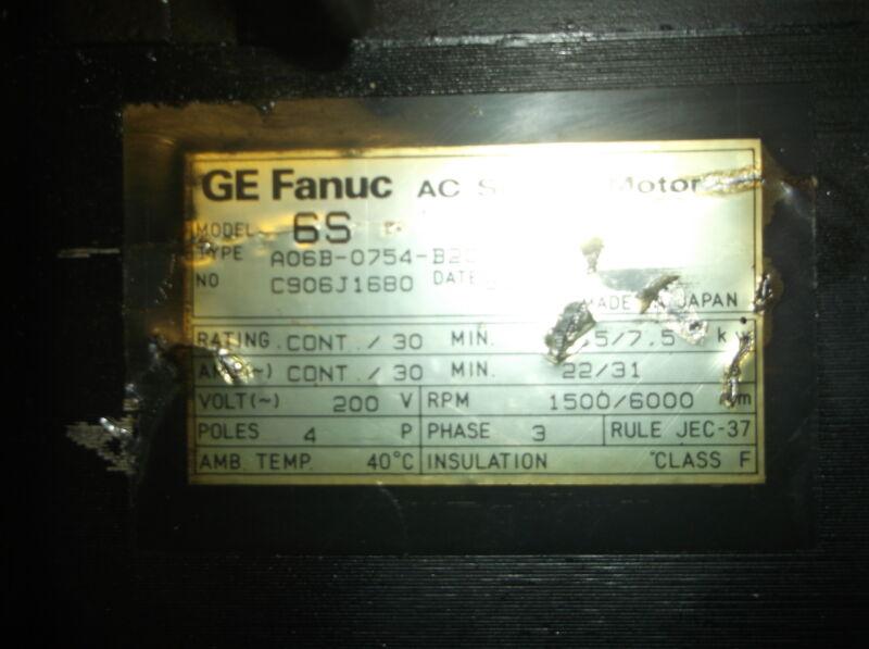 GE FANUC AC SPINDLE MOTOR MODEL 6S A06B-0754-B200 #3000, 200HP, 4P, 1500 RPM, 20