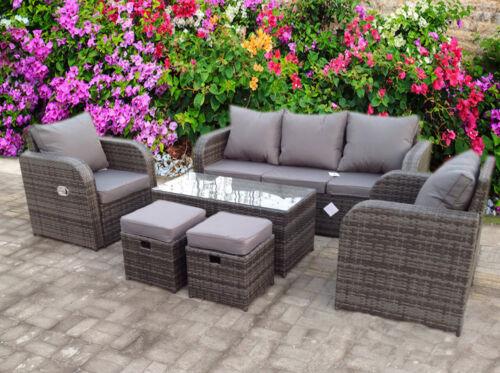 Garden Furniture - RATTAN RECLINER  WICKER GARDEN OUTDOOR TABLE AND CHAIRS FURNITURE PATIO SET GREY