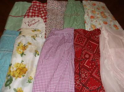 Vintage Lot Of 10 Aprons~1 Bib~1 Full~8 Half~Gingham~Floral~Bandana~Dotted Swiss